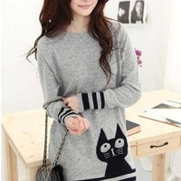 Chic Boat Neck Cartoon Cute Cat Pattern Long Women Sweater Dress New Style Hot