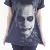 Joker T-Shirt -- Joker Shirt Heath Ledger Batman The Dark Knight Movie Shirt Unisex T-Shirt Women T-Shirt Men T-Shirt Black T-Shirt Size L