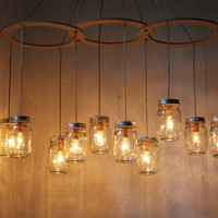 Mason Jar Chandelier - Mason Jar Light - Canopy Style Large Swag Light - BootsNGus Lamp Design - Hanging Pendant Lighting Fixture