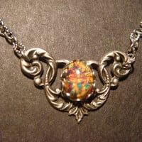 Victorian Style Fire Opal Necklace in Antique Silver (602)