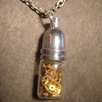 Steampunk Necklace- Gears and Watch Parts in a Glass Vial / Bottle (603)