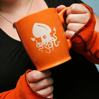 Squid Mug - Tangerine Orange - sandblasted ceramic coffee cup