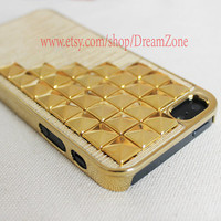 Golden studded iPhone 5 case, Gold pyramid studs iPhone 5 cases,personalized  iPhone 5 case