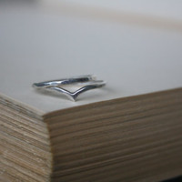 Hammered Stack Rings - Chevron Ring and Simple Stacker - Argentium Silver Rings