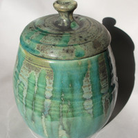 Ceramic Jar with Lid - Teal Drip on Grey