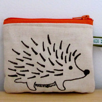 Hedgehog Change Purse with Orange Zipper