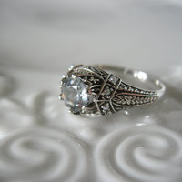 Antique Victorian Sterling Silver Ring with by TheRustyChandelier
