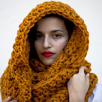 The Oversized Cowl or Hood Hand Knit in Mustard Wool Blend - MADE TO ORDER