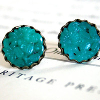 Vintage Jade Carved Glass Stud Earrings, Occupied Japan, Oxidized Brass, Stocking Stuffer, Christmas Gift