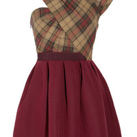 Carven?|?Asymmetric twill tartan dress ?|?NET-A-PORTER.COM