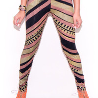 Hand Printed Zig Zag Leggings in Gold Rose