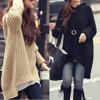 Korean Style Fashion Outerwear Women Loose Long Irregular Hem Hooded Sweater New