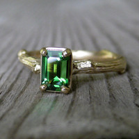 Emerald Cut Tourmaline Twig Ring in Gold, Ready to Ship, size 4.75