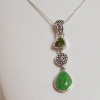 Green Turquoise Peridot Jewelry Necklace, Natural Gemstones, Handmade