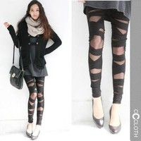 FREE S/H TO US Black NWT Gothic Punk Stripes Lace Leggings Tights Pants