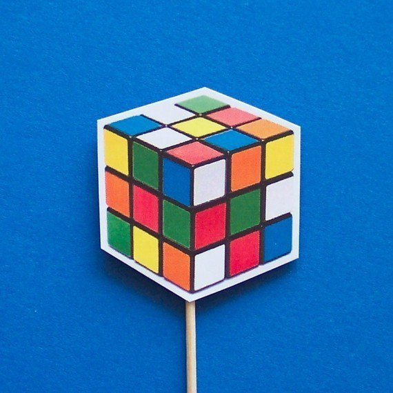 Rubik's Cube Cupcake Toppers Set of 12 Picks by TheBlissfulBaker