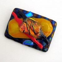 Colorful Abstract Artisan Made Dichroic Glass Brooch on Radium Base