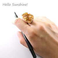Druzy ring: citrine jewelry drusy cluster crystal adjustable coctail