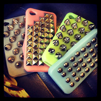 CUSTOM Maroon Studded iPhone Case