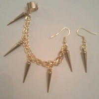 Bohemian Gold Spike Earrings with Ear Cuff Chain