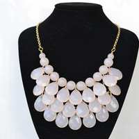 Beige - New Fashion Water Drops Teardrop Bib Necklace and Earrings Set ,Bubble Bib Statement holiday party wedding Necklace,bridesmaid gift