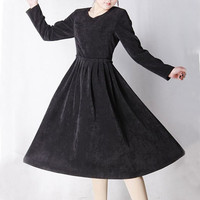 Black corduroy Tea dress