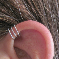 No Piercing Sterling Silver  Handmade Helix Cuff Ear Cuff &quot;Triple Loops&quot;  1 Cuff