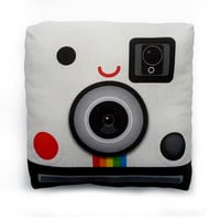 Decorative Pillow, Mini Pillow, Throw Pillow, Classic Geekery Toy Pillow, Eco-Friendly Printed on Cotton Fabric - Retro Polaroid Camera