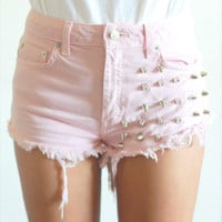 HypoxicAndLost - Handmade - BABY PINK Studded Denim Cut Off Shorts