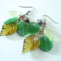 AUTUMN CASCADE II Fall Dangly Woodland Earrings with Glass Leaves in Green and Yellow &amp; Dark Green Swarovski Pearl from Dryad Dreams