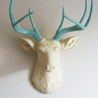 Cream &amp; Robins Egg Blue deer head wall mount by hclaire on Etsy