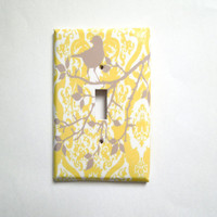 Yellow and Gray Switchplate Single or Double Cover You Are My Sunshine