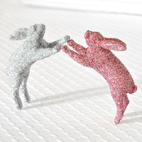 Baby Bunny Nursery Decor in Light Pink and Silver Glitter for Girl or Boy Baby Shower Decorations by WishDaisy