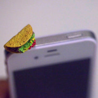 Kawaii TACO Iphone Earphone Plug/Dust Plug - Cellphone Headphone Handmade Decorations