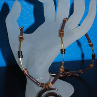 Unisex Wood beaded necklace with spiral bone pendant, gold and brown ooak necklace, fall inspired , earth tones, bohemian inspired necklace