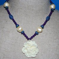 Purple bead and white floral necklace,Floral pendant, Purple and blue beaded necklace, Polymer Clay beaded necklace,  ooak accessories