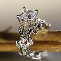 Princess cut moissanite. Leaf engagement ring set.  14k gold wedding set.