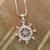 Ships Wheel Necklace - Rhinestone Ships Wheel Necklace