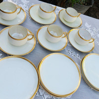 Vintage Altrohlau 1920's Tea Service Set  Cream Lustre and Gold Band