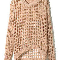 ROMWE | Gridding Hollow Nude Pink Jumper, The Latest Street Fashion