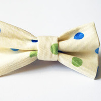 Cream Bow tie clip with Blue and Green Polka Dots for Youth
