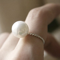 STERLING SILVER 12mm SHELL PEARL SOLITAIRE RING PEARL JEWELRY by Kellinsilver.com - Handcrafted Jewelry Stores as ETSY
