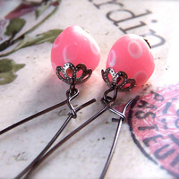 Pink Dangle Earrings, Pretty, Cute, Fun Vintage Style Pink Glass Dotty Beads, Fashion, Women's Jewelry