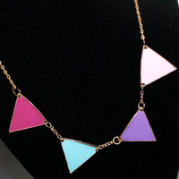 "18"" Gold Accented Geometric Enameled Triangles Trendy Statement Necklace"