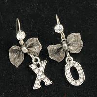 Flirty Silver Tone X and O  Dangle Earrings with a Silver Tone Mesh Bow and Rhinestone Accented French Wire