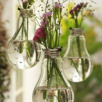 Home Undefined Room / #DIY Hanging vases made from used light bulbs.