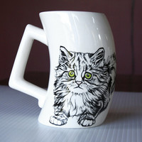 Ceramic Hand Painted Kitty Cup/Mug with green eyes