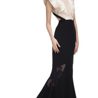 Shop Bibhu Mohapatra  Backless Onyx & Ivory Gown at Moda Operandi