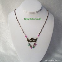 Gold Mardi Gras Mask Necklace