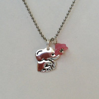 SALE Good Luck Elephant Sterling Silver Necklace, New Mom, Good Luck, Lucky Elephant, Pink, Blue